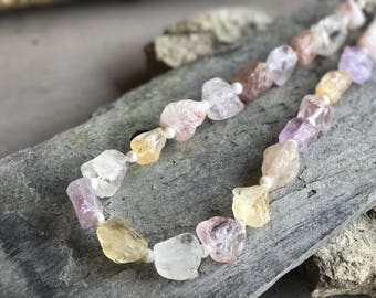 Pastel Coloured Crystal Quartz Necklace