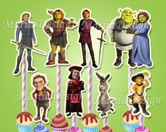 Shrek Centerpiece, Shrek Centerpieces, Shrek Characters, Shrek Cupcake toppers, Shrek Instant download, Shrek Party Supplies - ONLY FILE