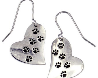 Paw Print Cat or Dog Lover Heart Drop Earring Ideal Gift For Cat -Dog or Animal Lover- Made and Design in UK