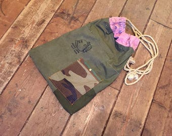 Patch-worked Drawstring Bag Upcycled From Vintage US Military Tent