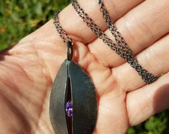 Pod Shield Talisman Pendant Necklace with Stone