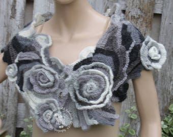 Crochet  Scarf Capelet Cape Black White Gray wedding etola  Freeform crochet  woman cowl scarf crochet neck warmer Freeform Crochet Roses