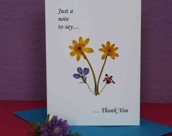 3 Pressed flower card collection - Set of 3 cards - Thank you card - Best Wishes Card - Happy Birthday card - Summer flowers