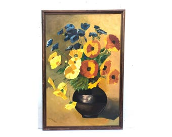 Still Life Painting -- Vintage Flower Painting -- Flower Painting -- Vintage Painting -- Still Life Flower Painting -- Floral Still Life