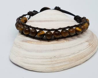 Leather single wrap bracelet dark brown 6mm tiger eye cotton stitching coppertone button closure