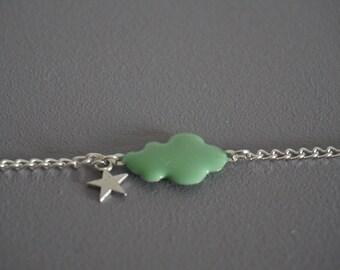 Bracelet pastel green cloud and stars