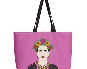 Frida Kahlo tote bag-Mexican Design Fashion bag-Weekend bag-Valentines gift-Cool tote bag-Printed tote-Fuchsia shopping bag-Gifts for her