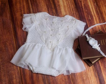 RTS, Sitter romper set, Baby romper, Baby girl romper, White, Vintage, 6 months, Natural. Baby girl photo prop, Tieback set, Lace