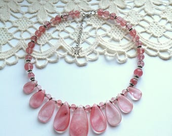 Cherry Quarts Necklace, Holiday Party Jewelry, Gemstone Lucky Stone Choker Necklace, Pink necklace
