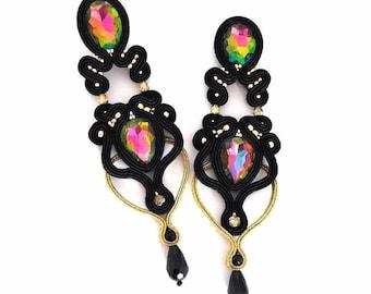 Crystal earrings, pink earrings, statement earrings, black earrings, boho earrings, rainbow earrings, super long earrings, fashion earrings