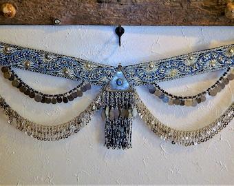 RESERVED Vintage Belly Dance Belt, River Belt, Tribal Fusion, Pro-Grade,Czech Glass, Egyptian Glass Fringe