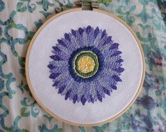 Purple Flower Hand Embroidered