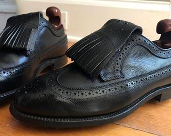 Dexter Black Country Calf Leather Kiltie Wingtip Golf Cleats/Shoes USA 8.5D EUC