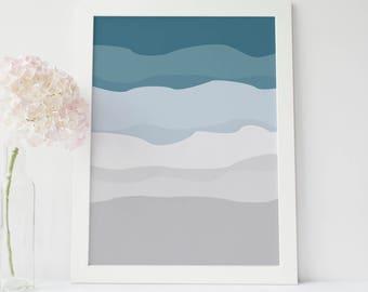 Minimalist Print, Abstract Art Print, Abstract Printables, Digital Art, Teal Art Print, Gray Decor, Modern Wall Art, Arctic Nursery Wall Art