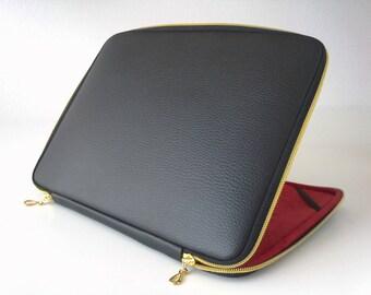Black leather macbook case,leather case,macbook air 13 sleeve,leather laptop 14 bag,gold zipper,classic,macbook case,macbook cover,mac black