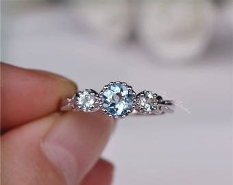 14K Gold Natural Aquamarine Ring  Antique Delicate Aquamarine Engagement Ring Wedding Ring Promise Ring Anniversary Ring