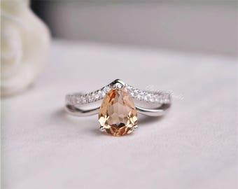 Natural Morganite Ring  Morganite Engagement Ring  Wedding Ring Anniversary Ring Promise Ring