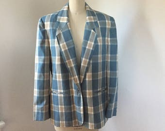 Country Sophisticates by Pendleton plaid blazer. Vintage plaid blazer. Vintage blue suit coat. Vintage blue plaid suit. 1990's blazer.