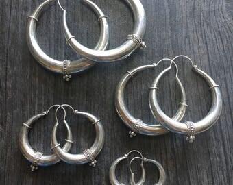 Silver hoops, ethnic look silver hoops, big silver hoops, small silver hoops, boho silver hoops, modern silver hoops
