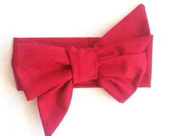 Red baby headwrap - toddler bow headband wrap - Red headband bow wrap -newborn bows - red big bow baby head wrap - newborn bow headwrap