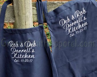 "Navy blue apron silver embroidery. Matching Couple. Many colors + fonts. 24""L x 28""W professional 3 pocket full bib. His can be longer!!!"