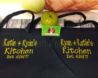 "Black apron yellow embroidery. Matching Couple. Many colors + fonts. 24""L x 28""W professional 3 pocket full bib. His can be longer!!!"