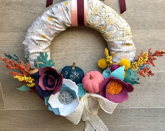 Fall Wreath, Thanksgiving Wreath, Modern Fall Wreath, Felt Fall Wreath, Autumn Wreath, Harvest Wreath, Felt Flowers, Pumpkin Wreath, Gray