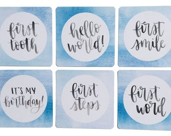 Blue Watercolour Milestone Cards - Hello World/It's My Birthday/First Tooth/First Smile/First Steps/First Word - Newborn Photo Prop