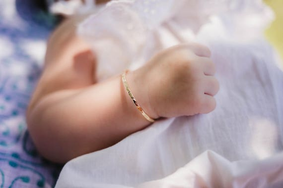 Newborn Bracelet Bangle Rose Gold Baby Girl Christening