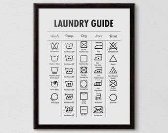 Laundry Guide Cheat Sheet Symbols Printable Bathroom Print Affiche Scandinave