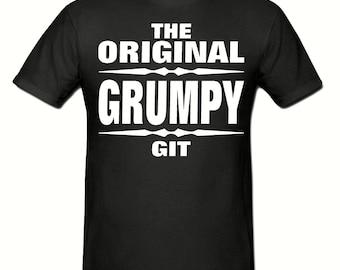 Original grumpy git t shirt,men's t shirt sizes small- 2xl, Slogan t shirt