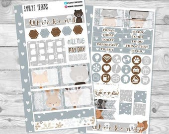 WOODS CRITTERS / Personal size sticker insets / Planner inserts / Personal Stickers