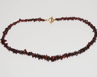"""14k Gold Filled 15"""" Natural Garnet Stone Necklace."""