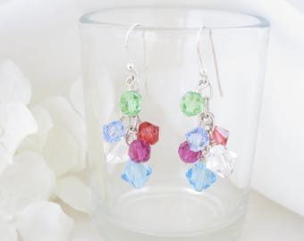 Colorful crystal earring, Multi color cluster earring, Swarovski crystal earring, Beach wedding, Destination Wedding