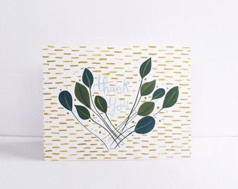 Geometric Thank You greeting card -  individual card 5.5 x 4