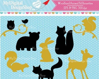 Woodland Animal Silhouettes Clipart, Vector EPS, PNG Image, Forrest Animal Stamps, Shapes, Scrapbook Fox, Owl, Deer, Squirrel, Bear |C040