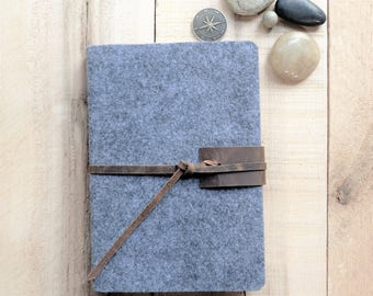 Wool and Leather Large Sketchbook - Grey