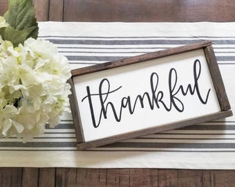 "Handmade Sign/ Calligraphy Sign/ ""Thankful"" Sign/ Farmhouse Sign/ Rustic Sign/ Hand Painted Sign/ Fall Sign/ Thanksgiving Sign/ Holiday Sign"