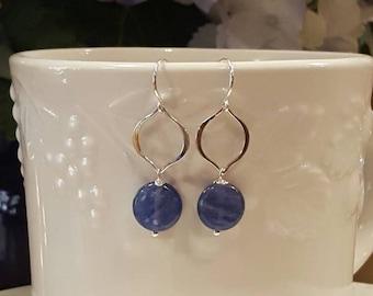 Sterling Silver - Blue Kyanite earrings- Natural Kyanite - Gemstone Earrings