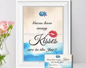 How Many Kisses Are In The Jar, Bridal Shower Game, Nautical, Ocean, Starfish, Sanddollar, Tropical, Beach Theme, PDF Instant Download T703D