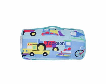 Personalized Toddler & Preschool Microfiber Nap Mats - Trains, Planes and Trucks On The Go