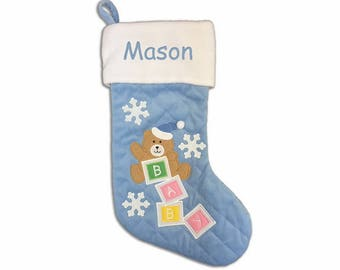 Personalized Quilted Baby Bear Christmas Stocking - Blue