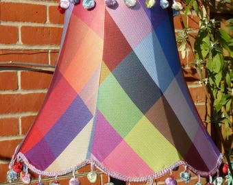 Multi-coloured, silk, handmade standard lampshade