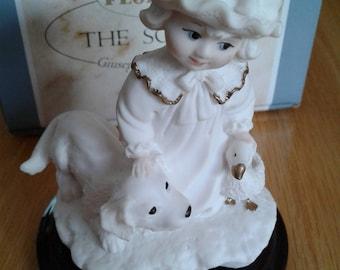 "1998 Giuseppe Armani  figurine ""Puppy Love""  Armani figurine girl with dog in original box"
