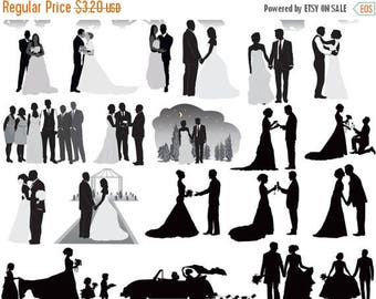 40% OFF SALE Wedding Party Silhouettes Clip Art , Wedding Silhouettes Clip Art Bride , Bridesmaid , Groomsman , Flowergirl Silhouette Buy 2