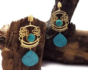 Turquoise earring,pear shape earring,gold plated earring,spiritual earring,gift for her,designer earring,long earring,trible earring
