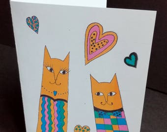 Card Valentine's day print, cats ' memo