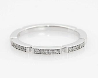 Eternity Ring, 18k White Gold, Half Eternity Band, Natural Diamonds, Gold Eternity Ring, Pave Diamond Ring, Thin Diamond Band, Eternity Band