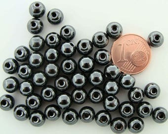 50 Perles Rondes 6x5,5mm Pierre HEMATITE non magnétique PIER56 DIY création bijoux