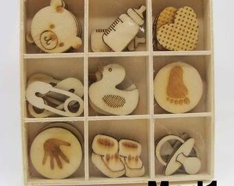 27 Embellissements Scrapbooking Bois Artemio Bébé Tétine biberon naissance en casier pyrogravé 3pcs x 9 motifs
